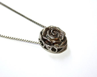 Vintage Sterling Rose Bracelet Slide Pendant Necklace Detailed