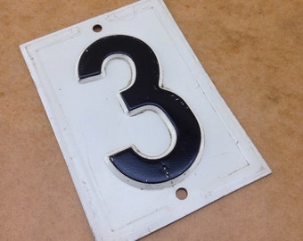 Vintage Embossed Metal number 3 -  black gas station number - vintage house number - stamped steel number - industrial metal number