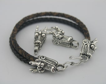 3 Sets  Anqitue Silver Dragon Head Dia. 8.0mm Hook Clasp/end caps