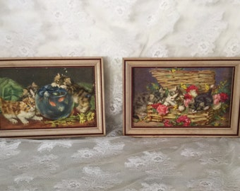 Vintage Kitten Wall Plaques Wood Frames