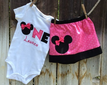 Minnie Mouse Outfit, 1st Birthday Minnie Outfit, Minnie Skirt, Minnie Mouse One piece