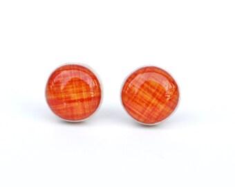 Tangerine linen stud earrings, summer outdoors orange post earrings, orange studs eco friendly jewelry, wood earrings, minimalist jewelry
