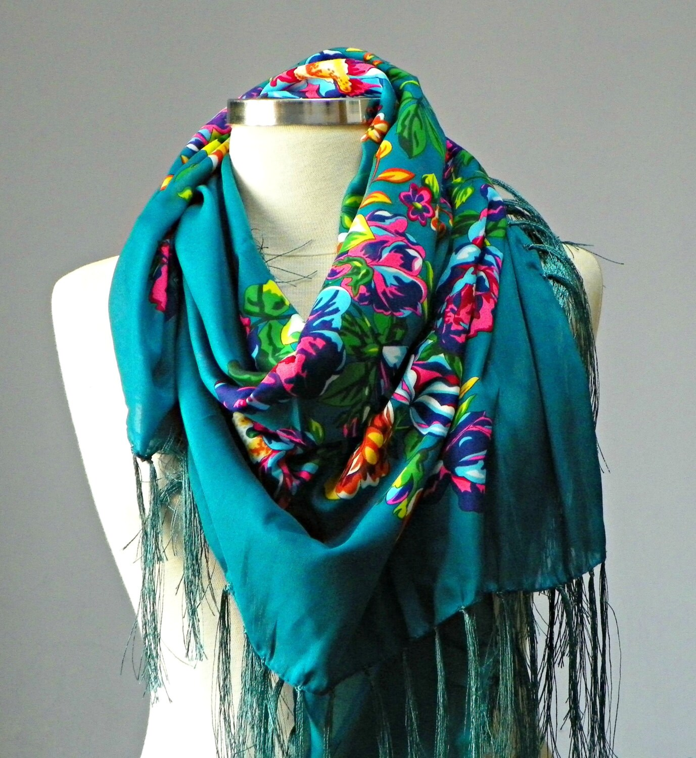 scarf russian shawl scarf square scarf flower by