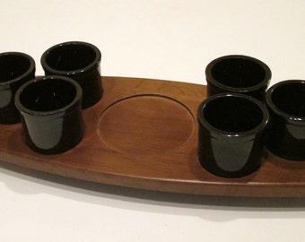 Hellerware Teak Tray with 6 Cups 1950s