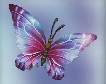 Cross Stitch Pattern Flutter No. 5 Butterfly Design Instant Download PdF Modern Design Spring Bugs Butterflies