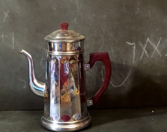 Mid Century Modern French chromed coffee pot. French kitchen decor.