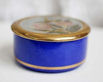 Japanese Trinket Box, Cobalt Blue and Gold Porcelain Trinket Box, Made In Japan