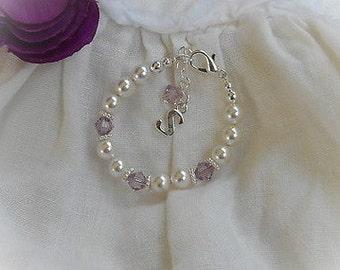 Baby's First Birthstone Bracelet-Initial Baby Bracelet-Newborn Jewelry