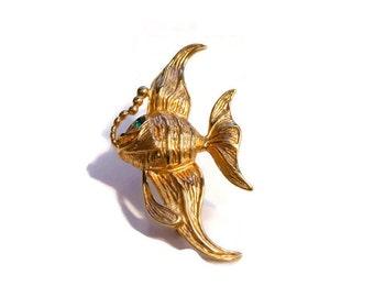 Krementz fish brooch, angel fish, gold overlay, green rhinestone eye