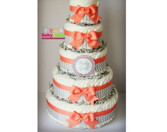 5 layer diaper cake , PICK YOUR COLOR , Pink and grey , coral and grey and grey diaper cake, Owl diaper cake , baby shower decorations