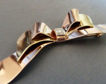 Vintage 14k Gold Diamond Brooch Bow Pin Retro 1940s Fine Jewelry Yellow Rose Gold Gift For Her