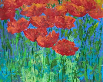 "Red flowers original painting acrylic on paper 19.5 "" x 25.5"""