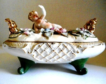 Capodimonte Covered Dish with Putti on Lid Applied Flowers Hand Painted Gold Handles/Trim Gorgeous Victorian Era Jewelry Storage Potpourri