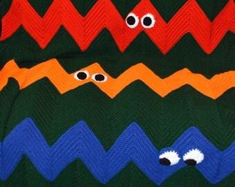 Crocheted Inspired Ninja Turtle Ripple Afghan