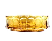 Amber Fostoria Coin Glass Oval Serving Bowl Liberty Coins Bell Patriotic Tableware