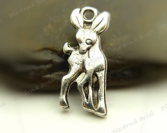 10 Deer Charms ( Double Sided ) 18x7mm Antique Silver Tone Metal - BF6