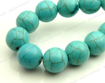 6mm Turquoise Blue Magnesite Matrix Gemstone Beads - 15.5 Inch Strand - Round, Opaque, Brown Veining - BE11