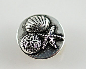 1 PC - 12MM Seashell Shell Nautical Silver Charm for Candy Snap Jewelry KB6647 CC0409