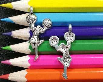 10 PCS - Cheerleader Cheer Cheering Sports Pom Poms Silver Charm Pendant C0493