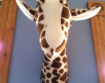 Giraffe elephant zebra head mount nursery playroom decor fleece