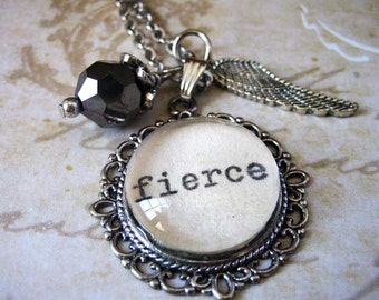 Fierce Inspirational necklace pendant with Shakespeare quote inspiring motivational positive message typewritten jewelry glass pendant