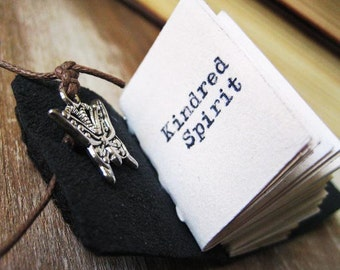 kindred spirit quote anne of green gables book  jewelry necklace miniature journal pendant necklace for book lover reader