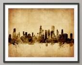 Chicago Skyline, Chicago Illinois Cityscape Art Print (1777)