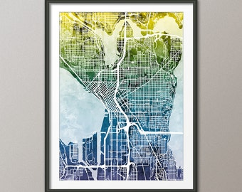 Seattle Map, Seattle Washington City Street Map, Art Print (1926)