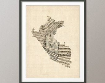 Peru Map, Old Sheet Music Map of Peru, Art Print (1976)