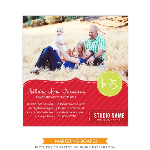 INSTANT DOWNLOAD  - Marketing board - Newsletter  template Christmas & Holidays- E497-9