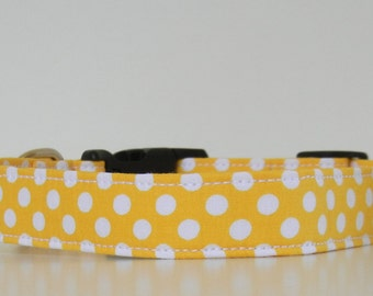 Yellow Polka Dot Dog Collar Wedding Accessories Easter Collar Made to Order