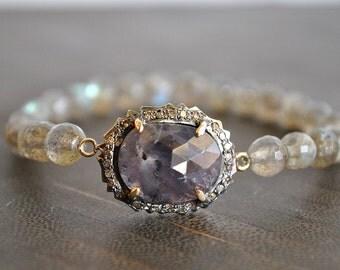 PAVE DIAMONDS natural rose cut  SAPPHIRE stretchyLabradorite bracelet