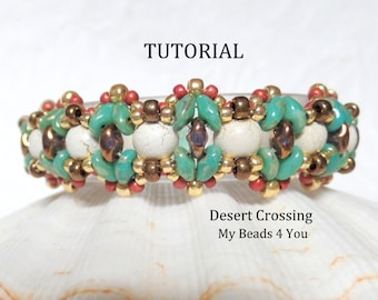 PDF Beading Tutorial, Beading Instructions, Seed Bead Pattern,Superduo Schemi,Bracelet Tutorial, SuperDuo Beads,2 Hole Beads,Jewelry Pattern