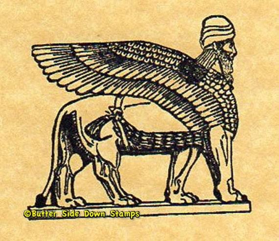 Nergal Mesopotamian God Winged Bull Rubber Stamp