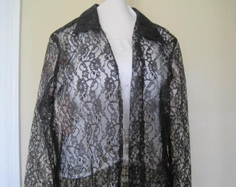 Black Lace Long Coat Shell Kepler Lacy Afternoon