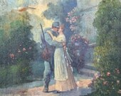 WWI Sweethearts Kissing Goodbye Original Oil by Louceni Valecny Rok Galicia Campaign Vintage Oil Painting Military Painting WWI Painting