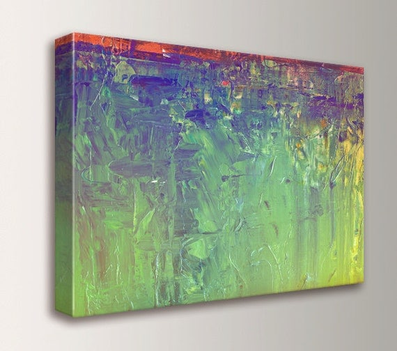 """Green Abstract Painting - CANVAS Reproduction - Lime Green and Violet, Orange, Yellow - Colorful Wall Art - """" Viridescent """""""