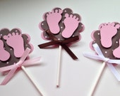 Set of 12 - PINK BABY FEET Cupcake Toppers - Baby Shower - Decorations/Favors/Centerpiece - Pink and Brown