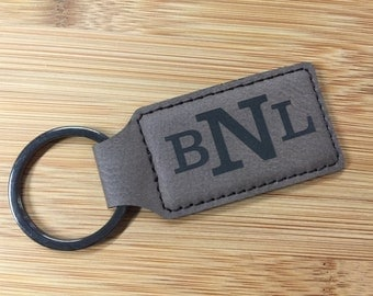 Engraved Dark Brown Leatherette Rectangle Keychain