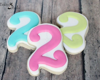 Birthday Number Cookies Cookie, First Birthday Cookies, Number Cookies, Second Birthday Custom Sugar Cookies, Pink Cookies, Baby's First