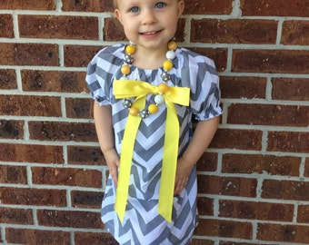 girls yellow gray grey chevron boutique dress white monogram