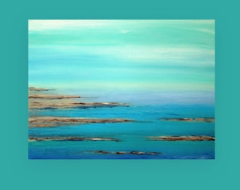 Abstract Painting Acrylic Art,Fine Painting,Seascape Painting,Acrylic on Canvas by Ora Birenbaum, Titled: Turquoise Waters 36X48X1.5""