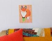 Fox Wearing Socks Removable Decal / Fox Sticker / Removable Wallpaper / Original Illustration / Vinyl Decal / Bumper Sticker