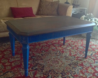 French Country Blue Farmhouse Rectangle Coffee Table