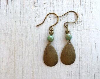 Turquoise Boho Earrings, Drop Earrings, Antique Brass Earrings, Dangle Earrings