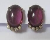 "SALE JOMAZ Art Deco Earrings 1940's Vintage have Amethyst Purple Glass Cabs & 4 Small Clear Rhinestones Below. Clips.  13/16"" H x 1/2"" W."
