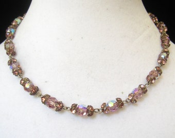 SALE Vintage Light Purple 8 mm AB Crystal Choker Necklace has Deeper Amethyst Rhinestone End Caps on Each Bead & 9-Bead Extender at End.