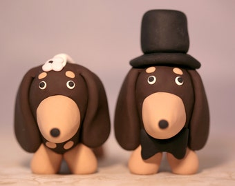 Dachshund Wiener Dog Wedding Cake Topper Chocolate and Tan