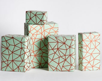 Organic Geometry / Wrapping Paper / Mint-Copper