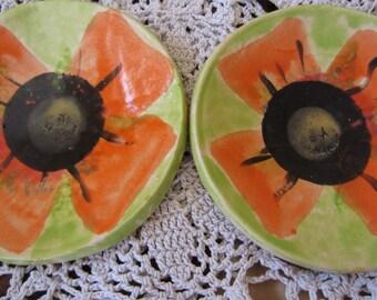 Set of Two Bright Orange Poppy Dishes